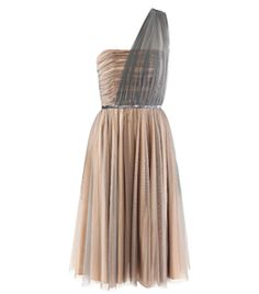 This evening dress has a strapless nude lining and blue-tulle overlay with a ruched one shoulder-strap and hidden side zip fastening.    The dress is ruched over the bust with a blue sequined seam under the bust and a full A-line skirt. #Matchesfashion