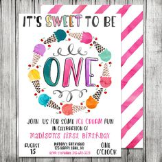 Watercolor First Birthday Ice Cream Invite - Ice Cream Birthday Invite - Ice Cream Shoppe - 5x7 JPG (Front and Back Design) by CherryBerryDesign on Etsy https://www.etsy.com/listing/237601234/watercolor-first-birthday-ice-cream