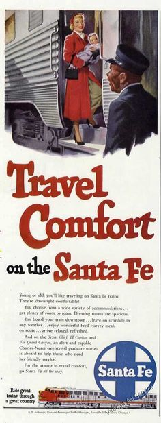 Travel Comfort on the Santa Fe Railroad Ad 1950 Original.