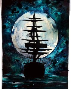 """""""Come Sail With Me"""" • Danielle Foye {watercolor} Acrylic Painting Inspiration, Oil Pastel Paintings, Art Techniques, All Art, Art Pictures, Painting & Drawing, Fantasy Art, Watercolor Paintings, Art Drawings"""