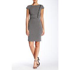 Jax Cap Sleeve Checkered Dress ($60) ❤ liked on Polyvore featuring dresses, bateau neckline dress, white dress, bateau neck dresses, zip front dress and white cap sleeve dress