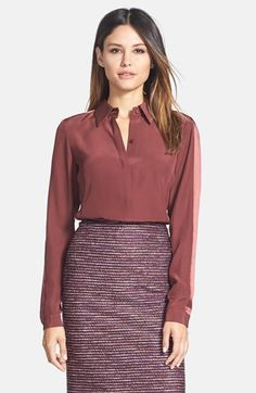 Lafayette 148 New York 'Claire' Matte Silk Blouse available at #Nordstrom