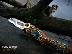FAERY QUEEN - Magic Crystal Wand Susan Tooker by Spinning Castle.     *Photobombed by a friendly pooch!