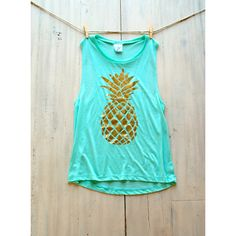 Women's Muscle Tee Tank Mint Pineapple Pinterest Tumblr Fashion... (49 AUD) ❤ liked on Polyvore
