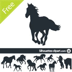 vector silhouettes of horses Horse Stencil, Animal Stencil, Plotter Silhouette Portrait, Horseshoe Projects, Horse Crafts, Animal Silhouette, Silhouette Cameo Projects, Silhouette Machine, Vinyl Projects