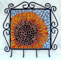 Jewelry or Key Hook Plaque - Mosaic Sunflower