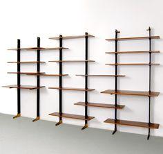 Ignazio Gardella; Iron, Wood and Brass Shelves for Azucena, c1955.
