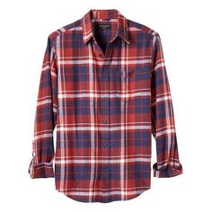 Banana Republic Men Standard Fit Red/Blue Plaid Flannel Shirt ($47) ❤ liked on Polyvore featuring men's fashion, men's clothing, men's shirts, men's casual shirts, mens long sleeve casual shirts, mens red plaid shirt, mens red shirt, men's spread collar dress shirts and mens plaid shirts