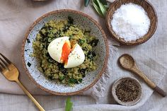 Soft boiled egg on quinoa, spinach and shallot recipe