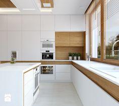 KWIRYNÓW - Duża otwarta kuchnia w kształcie litery u z wyspą, styl nowoczesny…