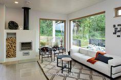 10 Kannustalon Lato - Olohuone | Asuntomessut Dining Bench, House Plans, Sweet Home, New Homes, Lounge, Windows, Patio, Google, Outdoor Decor