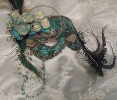 Masquerade Ball Mask, Elegant Mardi Gras Eye Mask, Turquoise n Peacock Feathers, Vintage Bejeweled, OOAK by Marelle. Vintage Couture work of art Masquerade Wedding, Masquerade Ball, Mascarade Mask, Carnival Masks, Carnival Venice, Venetian Masks, Venetian Masquerade, Beautiful Mask, Mask Party