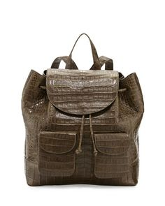 Crocodile Drawstring Backpack, Army Green by Nancy Gonzalez at Bergdorf Goodman.