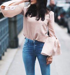 Bell sleeve goals @sylviahaghjoo #pixiemarket #bellsleeves #pink #streetstyle