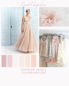 Colorboard : champagne, nude, pèche, rose poudré...