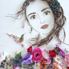 Portraits made with flowers by Justina Blakeney 'Face the Foliage'