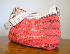 Tangerine and cream crocheted hobo handbag, fully lined. $55.00, via Etsy.