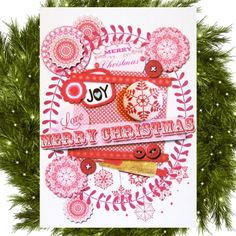 4 Christmas Joy Cards With Mini Magnets