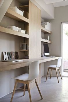 Here are ideas for making a practical home office desk that support double desk at your home office. Let's check at our Double Desk Home Office Design Ideas. Office Storage Furniture, Office Furniture Design, Office Interior Design, Office Interiors, Modern Interiors, Furniture Ideas, Mesa Home Office, Home Office Space, Home Office Desks