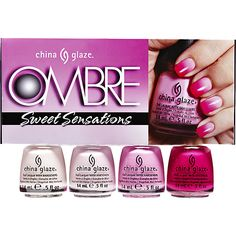 China Glaze 4 Piece Ombre Sweet Sensations helps to give your nails that stylish look.