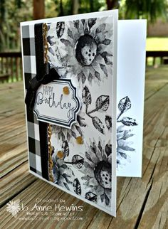 Black and white are just so classic together. I saw some samples of the stamp set Painted Harvest in black and white on Pinterest and wanted to try it. So lovely! I know it's black and white, but who wouldn't love getting this card for a birthday! The card base...