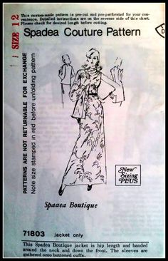 Spadea Couture Pattern 71803  Spadea Boutique  by ThePatternShopp, $18.00