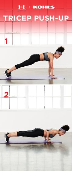 Regular push-ups are, of course, a great arm workout, but these tricep push-ups work an underused part of the body. Keep your elbows in tight to your sides as you lower and raise your body to work those tris (and get toned tank-top arms). Get fit with Under Armour and Kohl's.