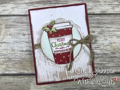 New video tutorial posted for how to create this gorgeous Christmas Card! #stampinup #coffeecafe #goodtidings #arelijohnson #withhisgifts