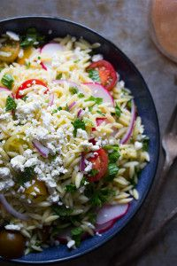 Herbed Orzo Pasta Salad with Tomatoes and Feta   Sweet Peas and Saffron