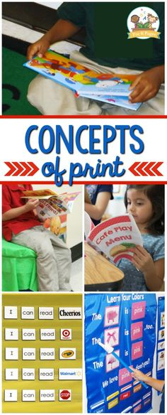 DESCRIPTION: The concepts of print food group refers to a foundational element of reading and writing that pertains to student knowledge of the print conventions, such as spacing, text directionality, punctuality, etc. Emergent Literacy, Preschool Literacy, Preschool Lessons, Early Literacy, Emergent Readers, Abc Activities, Kindergarten Activities, Reading Areas, Guided Reading
