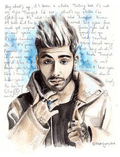 Ritratto di Zayn acquerello con i testi di Come di WaterLyrics