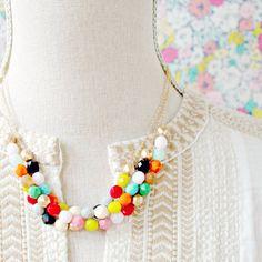 Colorful Three Strand Beaded Statement Necklace- Gold Or Silver Chains Beaded Statement Necklace, Diy Necklace, Layered Necklace, Handmade Jewelry, Unique Jewelry, Modern Jewelry, Jewelry Ideas, Jewelry Box, Jewelery