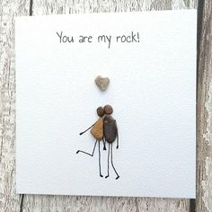 Birthday card husband card anniversary card Pebble card pebble art quirky card unusual card personalised unique you are my rock Stone Crafts, Rock Crafts, Caillou Roche, You Are My Rock, Art Pierre, Pebble Pictures, Valentine Theme, Rock And Pebbles, Sea Glass Art