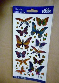 37 piece BUTTERFLIES & HEARTS foil stickers *NIP