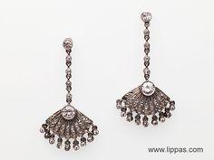Lippa's Estate and Fine Jewelry - Platinum Diamond Dangle Fan Earrings, $3,500.00 (http://lippas.com/platinum-diamond-dangle-fan-earrings/)