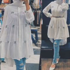 Mar 2020 - Modest white dress shirt with ripped jeans and ballet slippers Hijab Fashion Summer, Modest Fashion Hijab, Modern Hijab Fashion, Modesty Fashion, Hijab Fashion Inspiration, Muslim Fashion, Stylish Hijab, Hijab Chic, Modest Dresses Casual