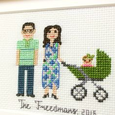2 Adults Baby In A Stroller. Cotton от RussianStitches на Etsy