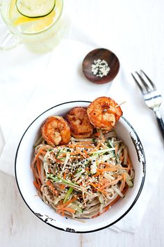 Cold Sesame Noodles with Butter Pepper Shrimp. #asianfood #noodles
