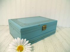 Vintage Turquoise Wooden Mele with Gold Trim by DivineOrders, $37.00