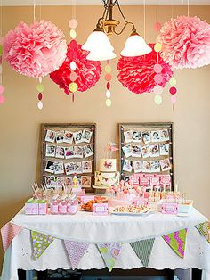 Banner Birthday Party: DIY Hanging Flowers (via Parents.com)