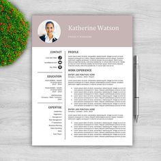Page Resume Template Package  Rsum  Cover Letter