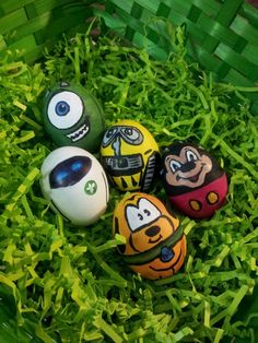 Hand Painted Disney / Pixar Easter Eggs- Monsters Inc., Wall-E, Eva, Pluto, Mickey Mouse ©Amber S. Wallace Phorography