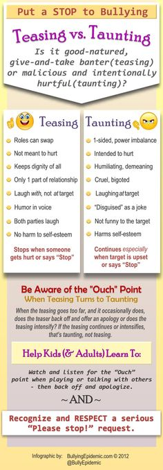 When teasing turns to bullying (taunting). #bullying #infographic