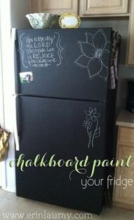 chalkboard paintt your fridge . Love this !! Turn an old fridge new again or a garage fridge with purpose. I'd love to list the contents and erase after it was used so less energy was used by people opening the door to stare at the insides. Doing this with a deep freeze would be great. Use chalk markers and make a layout so it could stay organized but full!!!