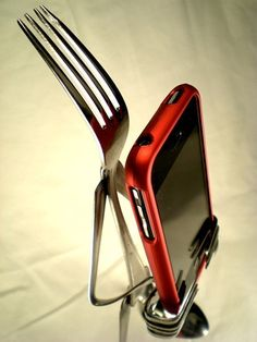 Fork iPhone Stands  http://www.etsy.com/shop/ForkedUpArt