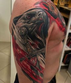 #eagle #tattoo Polish Eagle Tattoo, Polish Tattoos, Tatto For Men, Hand Tattoos For Guys, Hawk Tattoo, Armor Tattoo, Albanian Tattoo, Animal Tattoos For Men, Trash Polka Tattoo