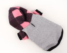 Dog clothes for your adorable pets! Trendy dog hoodie created from quality polar fleece in Pink and black buffalo plaid and grey jersey knit. Cozy and adorable! The hood is lined with jersey and trimmed with black ribbing. Easy, pull over style. Would you like this hoodie