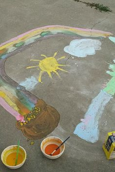 sidewalk chalk paint - Mix 1/4 CUP cornstarch with 1/4 CUP water & some drops of food coloring.
