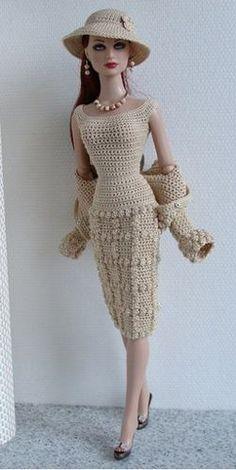 Boneca Barbie - Roupa De Crochê