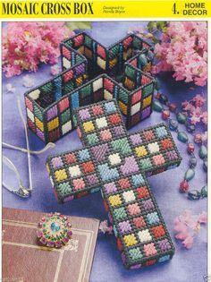 """Mosaic Cross Box"" plastic canvas pattern ~ Annie's International"